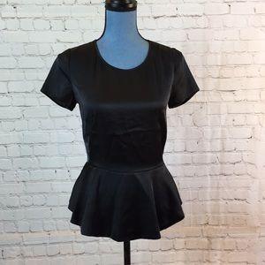 DKNY silky black short sleeve top w peplum